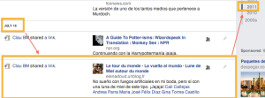 Estado en Facebook, verano del 2011